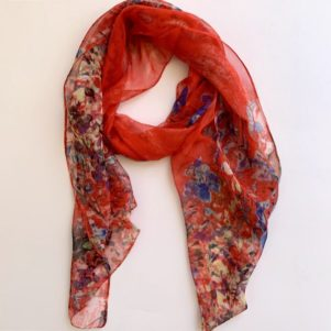 Matching head scarf - Red royal flowers