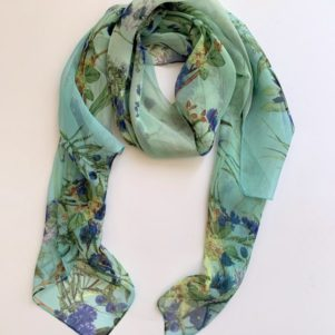 Matching head scarf - sage green flowers