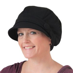 Low backed bakerboy cap - black