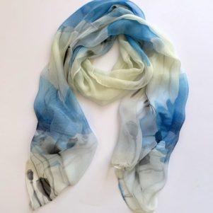 Matching head scarf - Blue on cream