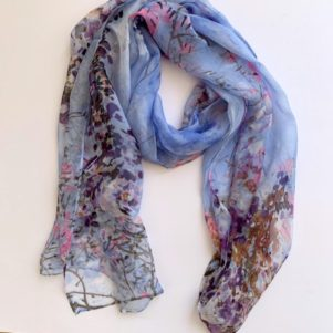 Matching head scarf - sky floral mix