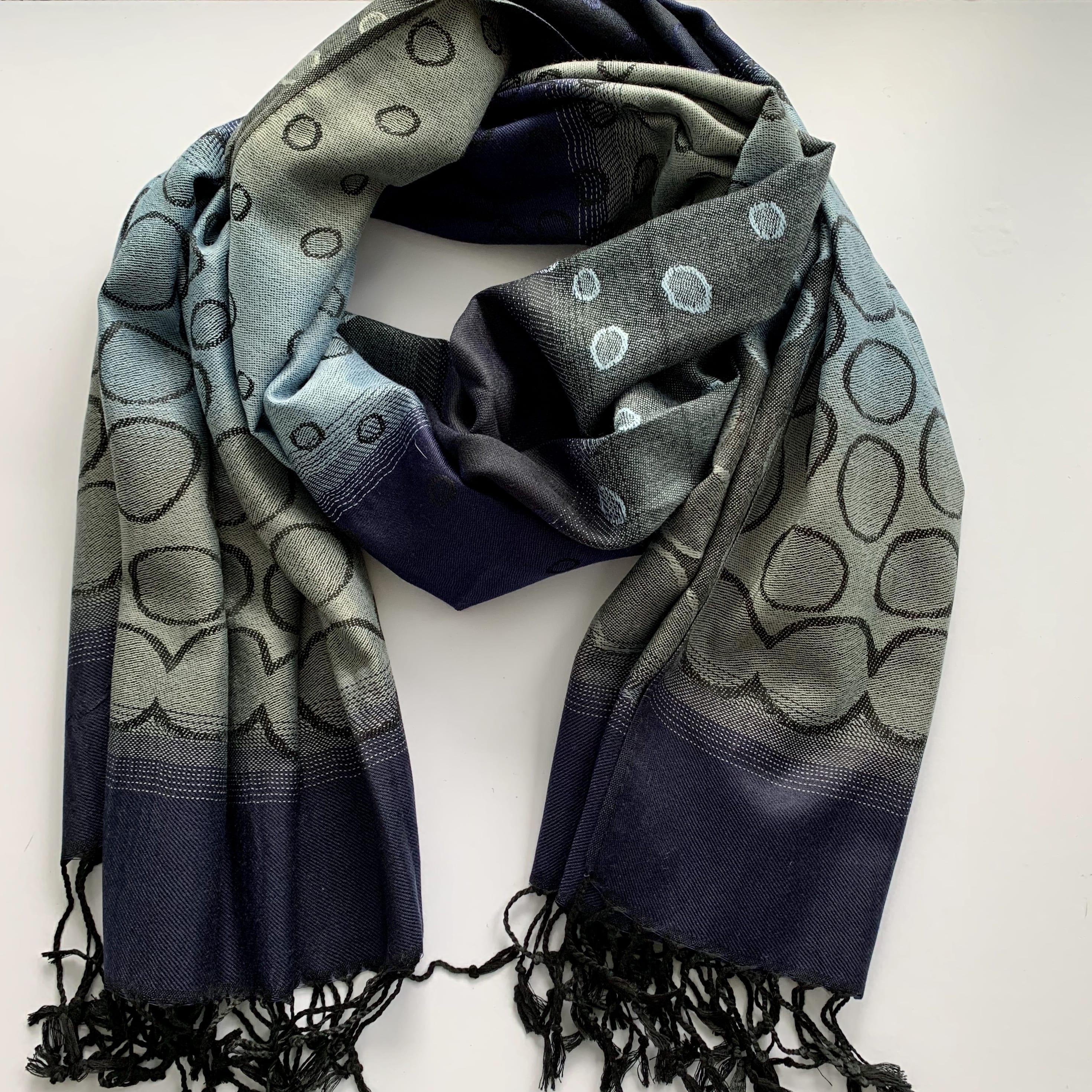 Pashmina wrap - navy/grey