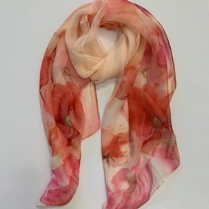Matching head scarf - Peach Olive Poppy