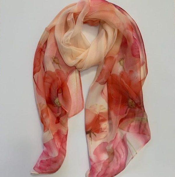 Matching head scarf - Peach Olive Poppy