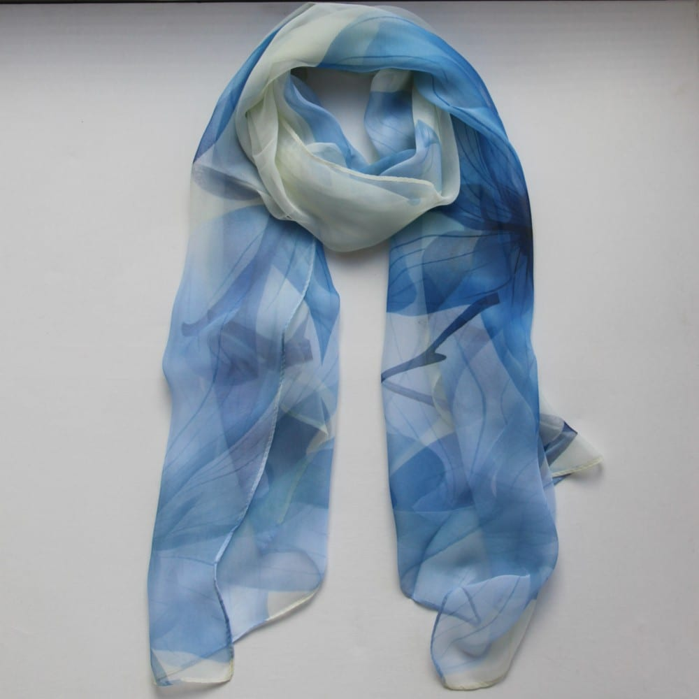 matching scarf blue on white treat me treasure me