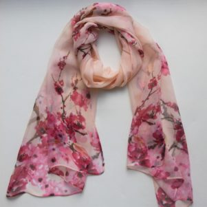 Matching Head Scarf - Peach cherry blossom