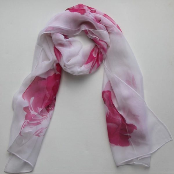Matching Head Scarf - Pink on White