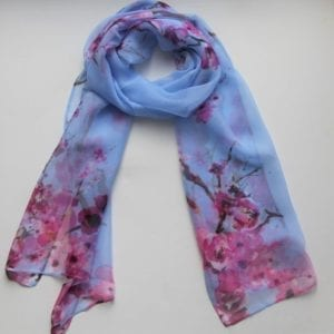 Matching Head Scarf - Sky cherry blossoms