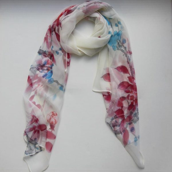 Matching Head Scarf - Red/Blue blossoms