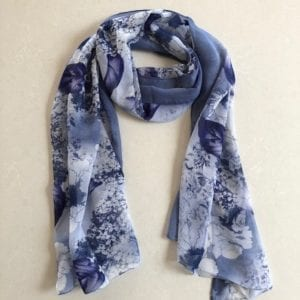 Matching head scarf - navy flowers