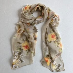 Matching head scarf - Olive and Yellow Flowers
