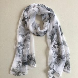 Matching head scarf - White with Grey Flowers