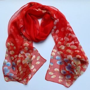 Matching head scarf - red blossom