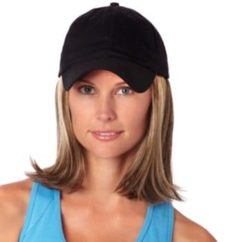 Black cap with hair