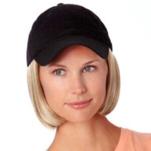 Black cap with hair accents