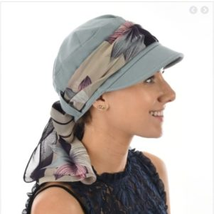 Low backed jersey cap slate with scarf